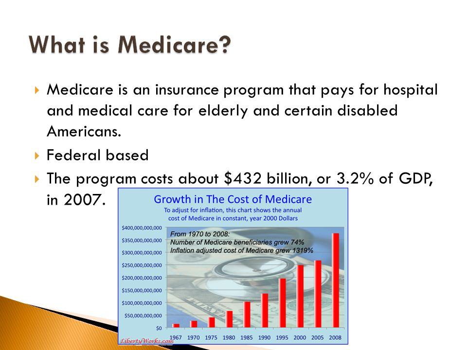  Medicare is an insurance program that pays for hospital and medical care for elderly and certain disabled Americans.