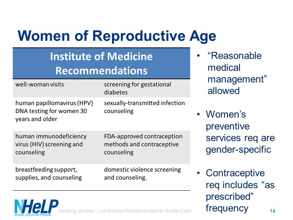 Women of Reproductive Age Seeking Access: Low-income Women Access to Health Care14 Reasonable medical management allowed Women's preventive services req are gender-specific Contraceptive req includes as prescribed frequency