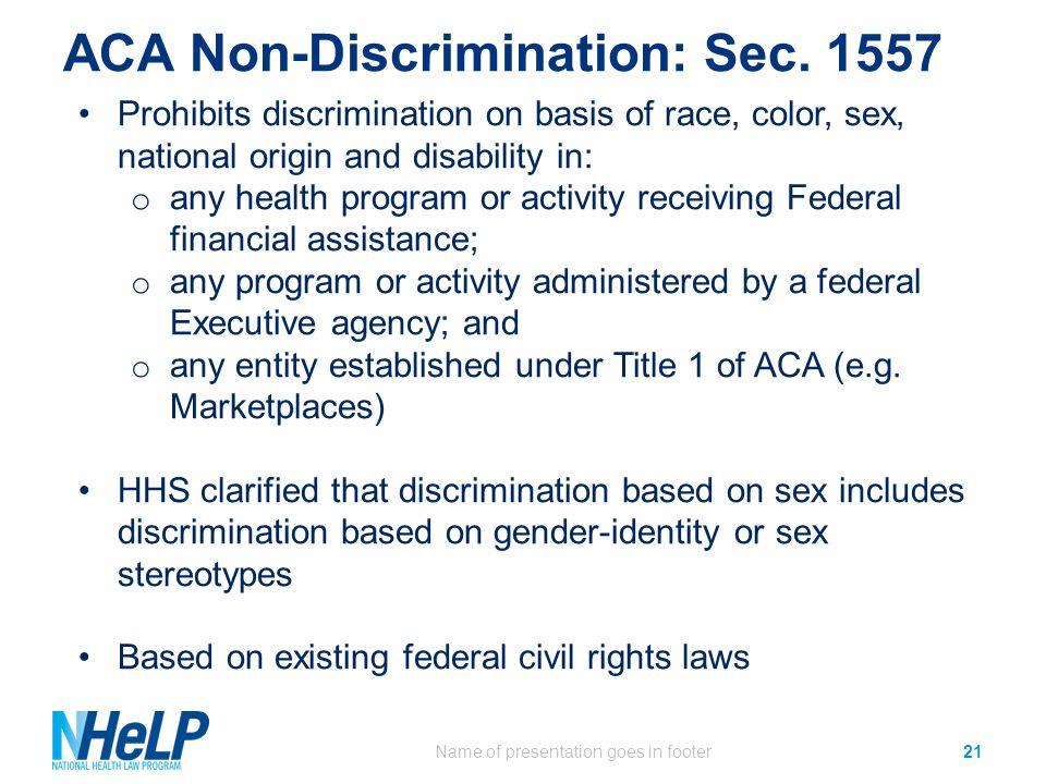 ACA Non-Discrimination: Sec.