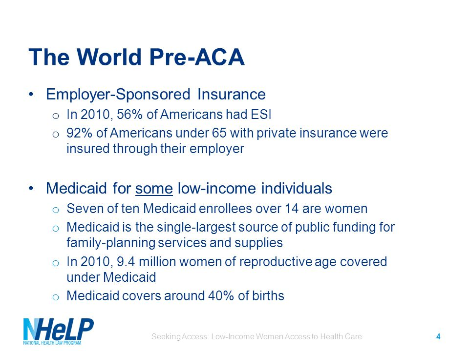 The World Pre-ACA Employer-Sponsored Insurance o In 2010, 56% of Americans had ESI o 92% of Americans under 65 with private insurance were insured through their employer Medicaid for some low-income individuals o Seven of ten Medicaid enrollees over 14 are women o Medicaid is the single-largest source of public funding for family-planning services and supplies o In 2010, 9.4 million women of reproductive age covered under Medicaid o Medicaid covers around 40% of births Seeking Access: Low-Income Women Access to Health Care4