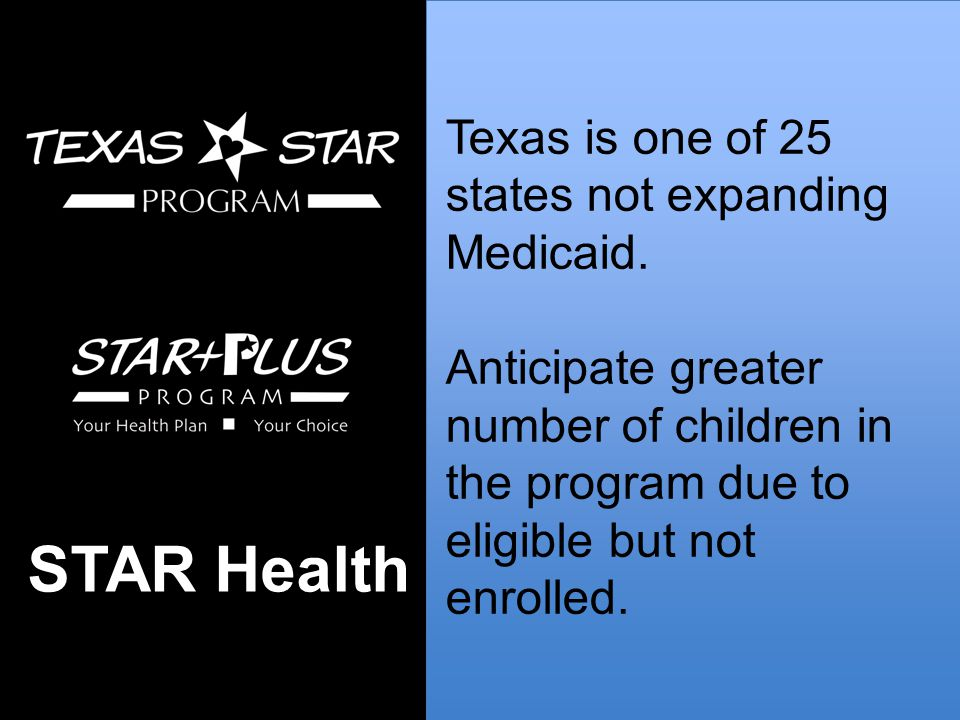 Texas is one of 25 states not expanding Medicaid.