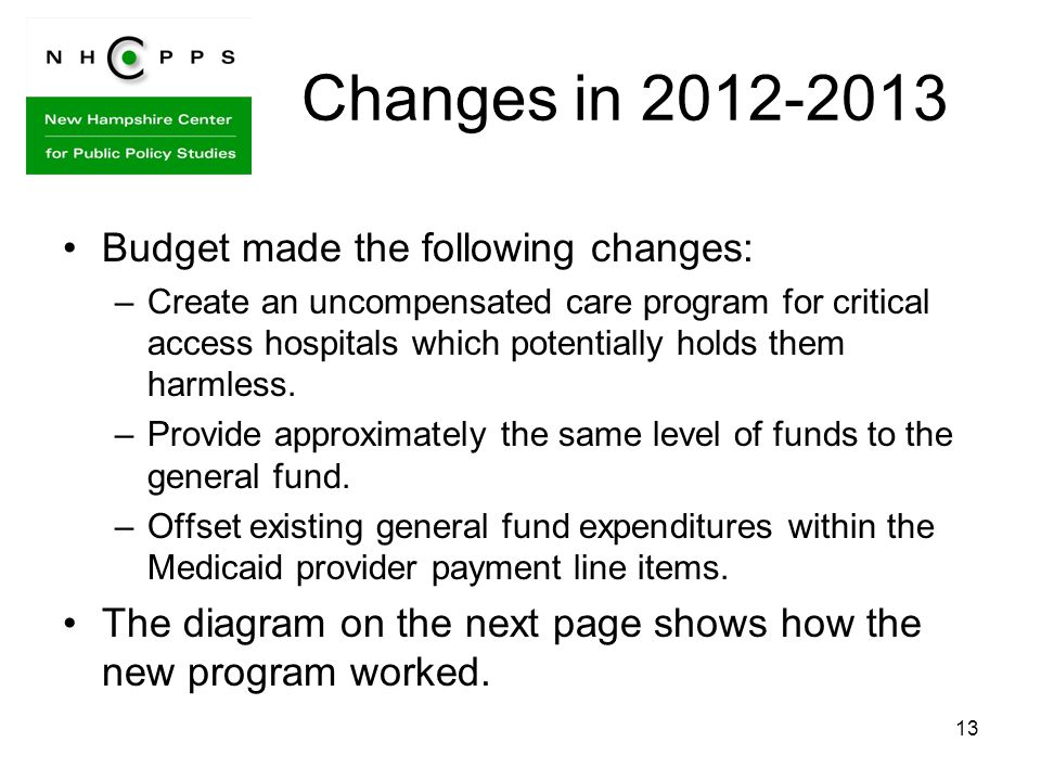 13 Changes in 2012-2013 Budget made the following changes: –Create an uncompensated care program for critical access hospitals which potentially holds them harmless.