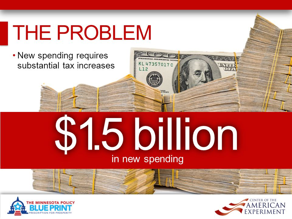 THE PROBLEM New spending requires substantial tax increases $1.5 billion in new spending
