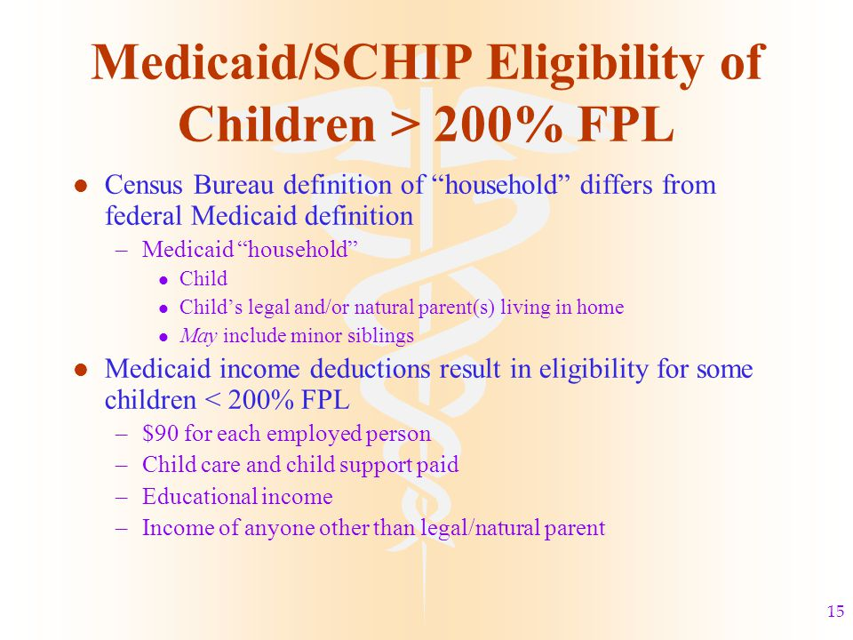 15 Medicaid/SCHIP Eligibility of Children > 200% FPL l Census Bureau definition of household differs from federal Medicaid definition –Medicaid household l Child l Child's legal and/or natural parent(s) living in home l May include minor siblings l Medicaid income deductions result in eligibility for some children < 200% FPL –$90 for each employed person –Child care and child support paid –Educational income –Income of anyone other than legal/natural parent