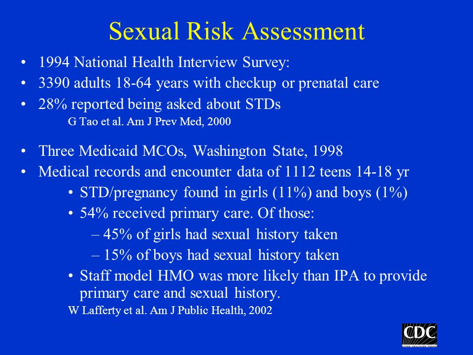 Sexual Risk Assessment 1994 National Health Interview Survey: 3390 adults 18-64 years with checkup or prenatal care 28% reported being asked about STDs G Tao et al.