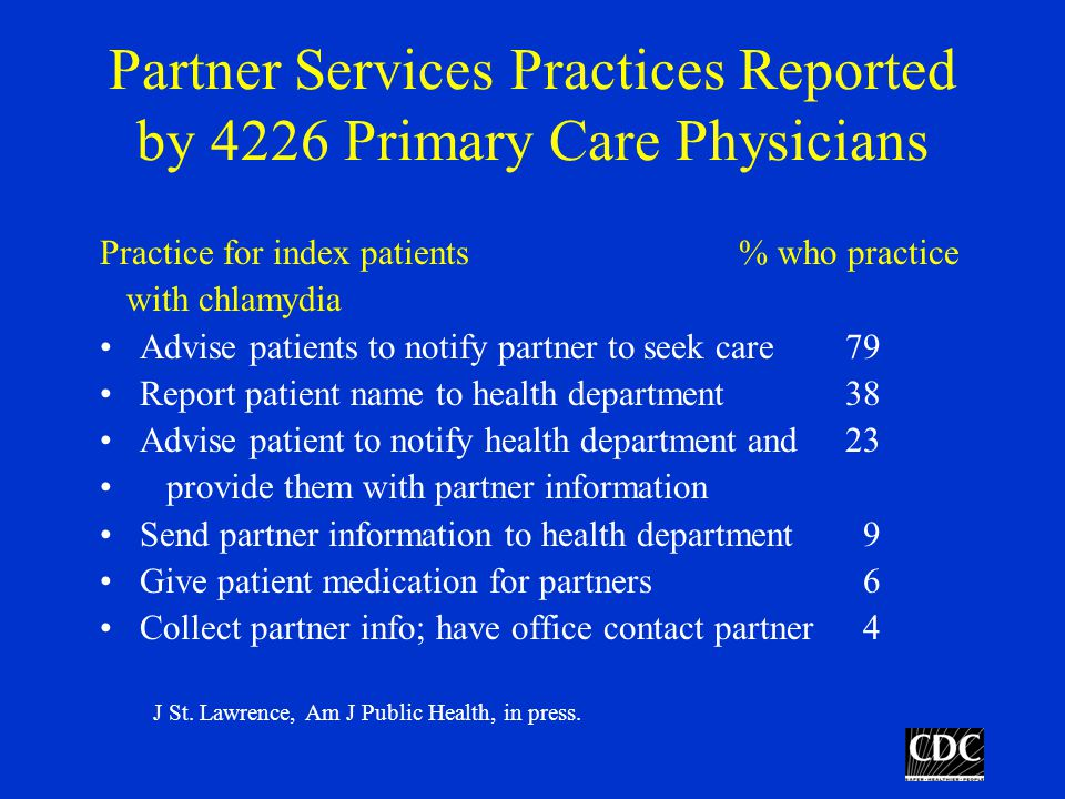 Partner Services Practices Reported by 4226 Primary Care Physicians Practice for index patients % who practice with chlamydia Advise patients to notify partner to seek care79 Report patient name to health department38 Advise patient to notify health department and 23 provide them with partner information Send partner information to health department 9 Give patient medication for partners 6 Collect partner info; have office contact partner 4 J St.