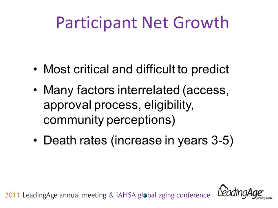 Participant Net Growth Most critical and difficult to predict Many factors interrelated (access, approval process, eligibility, community perceptions) Death rates (increase in years 3-5)