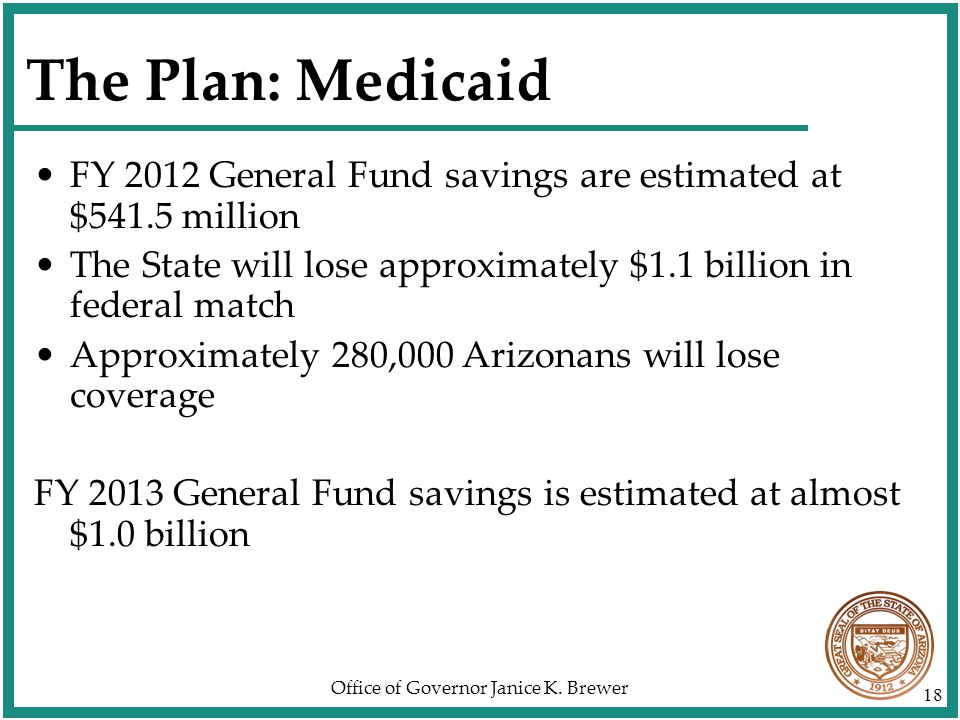 Office of Governor Janice K. Brewer 18 The Plan: Medicaid FY 2012 General Fund savings are estimated at $541.5 million The State will lose approximate