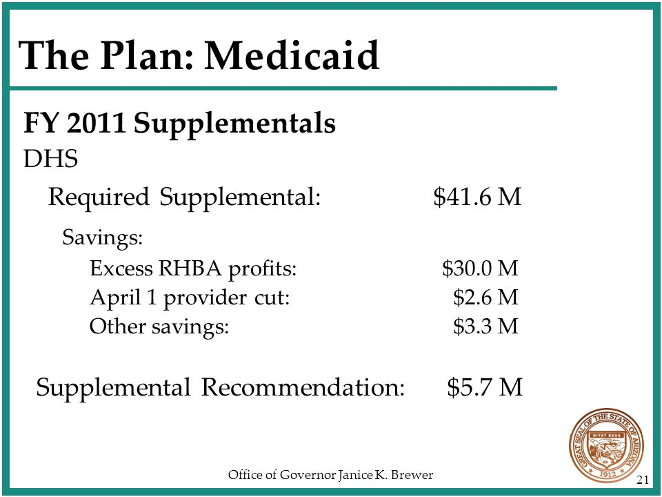 Office of Governor Janice K. Brewer 21 The Plan: Medicaid FY 2011 Supplementals DHS Required Supplemental: $41.6 M Savings: Excess RHBA profits: $30.0