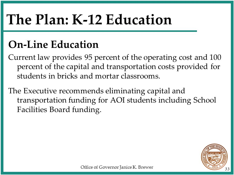 Office of Governor Janice K. Brewer 33 The Plan: K-12 Education On-Line Education Current law provides 95 percent of the operating cost and 100 percen