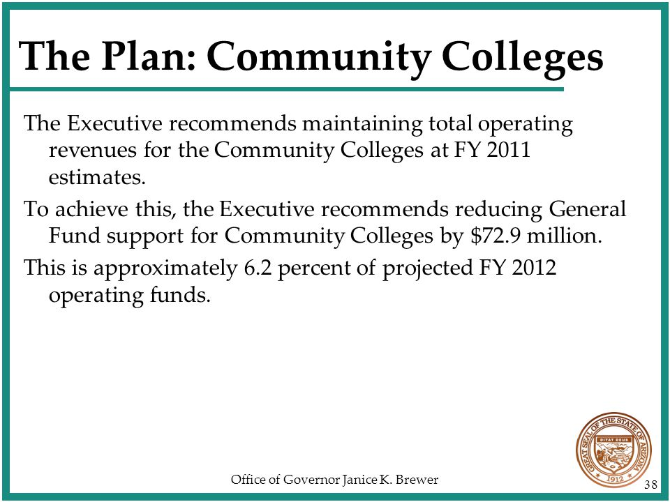 Office of Governor Janice K. Brewer 38 The Plan: Community Colleges The Executive recommends maintaining total operating revenues for the Community Co