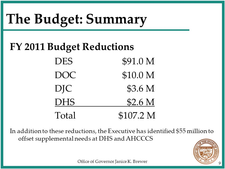 Office of Governor Janice K. Brewer 50 Summary Budget Recommendations