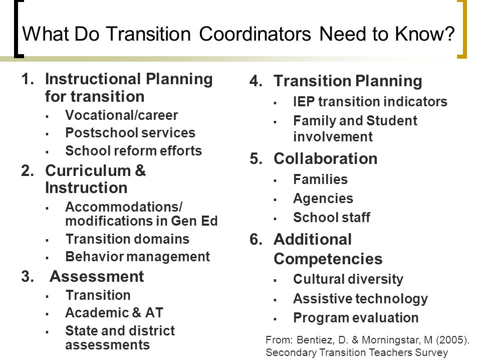 What Do Transition Coordinators Need to Know? 1.Instructional Planning for transition  Vocational/career  Postschool services  School reform effort