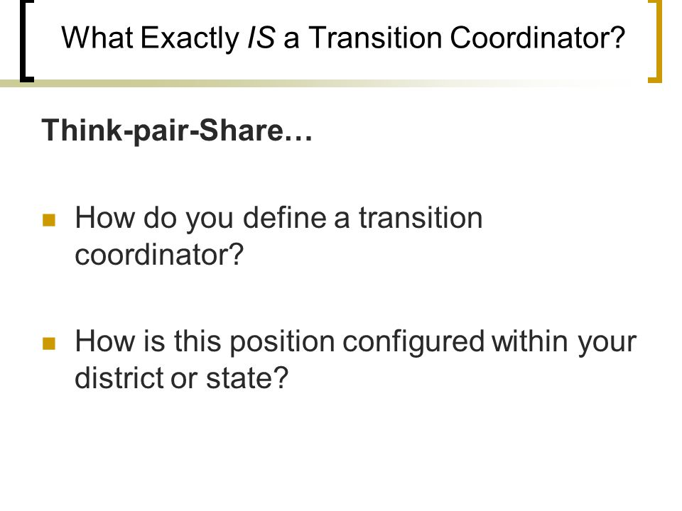 What Exactly IS a Transition Coordinator.
