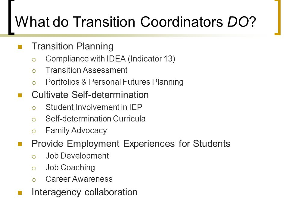 What do Transition Coordinators DO? Transition Planning  Compliance with IDEA (Indicator 13)  Transition Assessment  Portfolios & Personal Futures