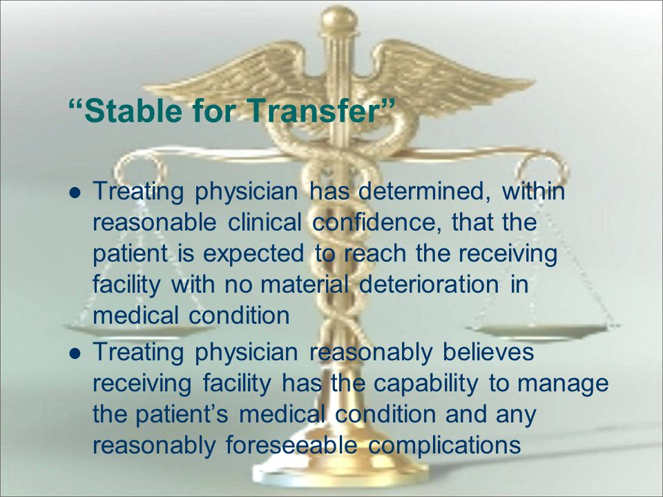 """""""Transfer"""" Movement (including discharge) outside the hospital's facilities – at the direction of any person employed by or affiliated or associated,"""