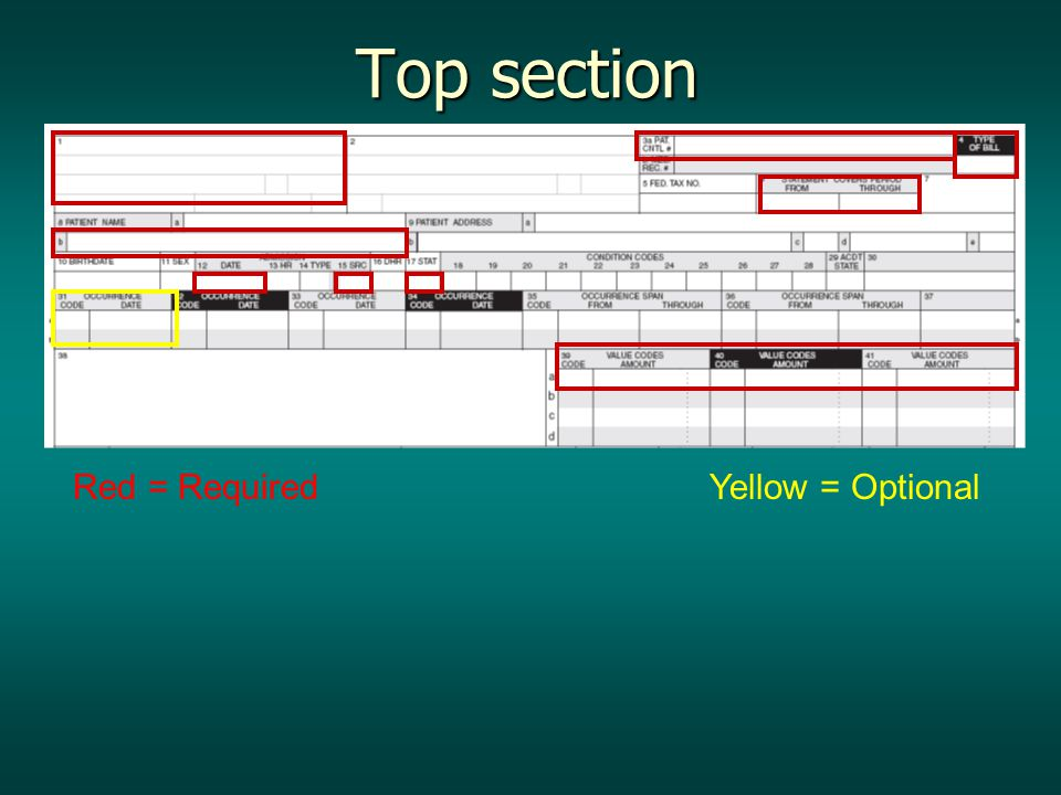 Red = Required Yellow = Optional Top section Top section