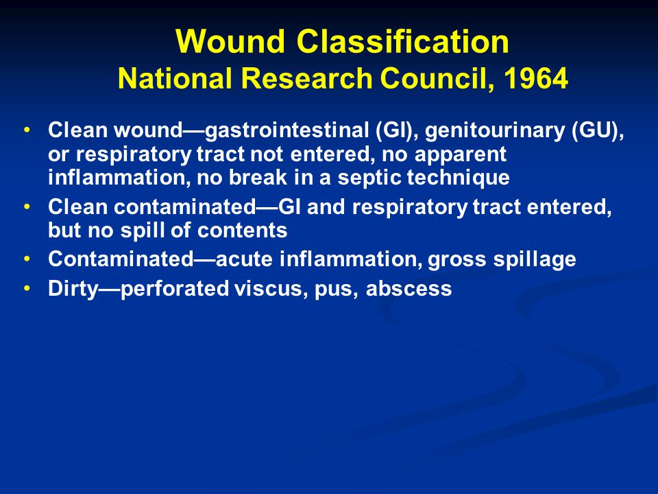 Wound Classification National Research Council, 1964 Clean wound—gastrointestinal (GI), genitourinary (GU), or respiratory tract not entered, no apparent inflammation, no break in a septic technique Clean contaminated—GI and respiratory tract entered, but no spill of contents Contaminated—acute inflammation, gross spillage Dirty—perforated viscus, pus, abscess