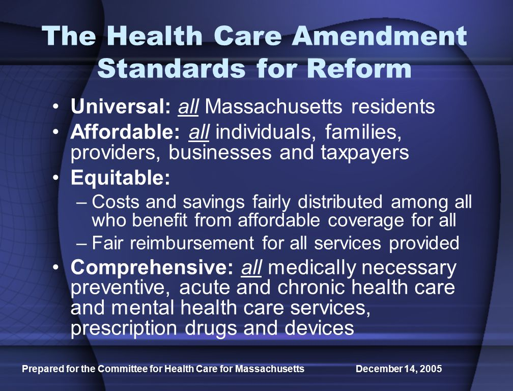 Prepared for the Committee for Health Care for Massachusetts December 14, 2005 Option 1 Inaction