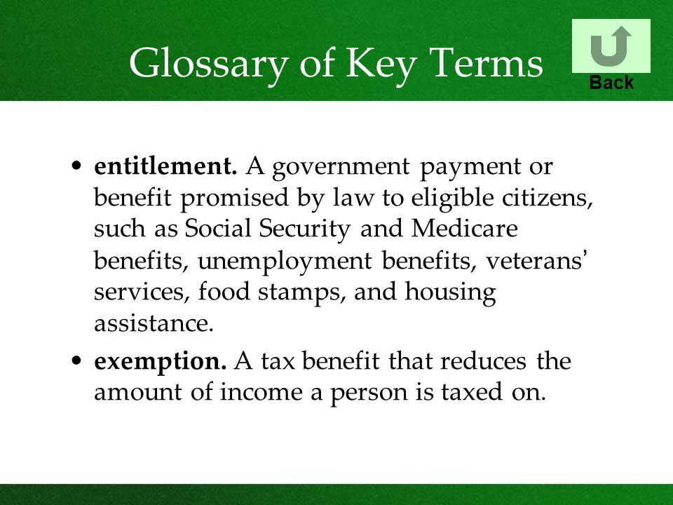 Glossary of Key Terms entitlement. A government payment or benefit promised by law to eligible citizens, such as Social Security and Medicare benefits