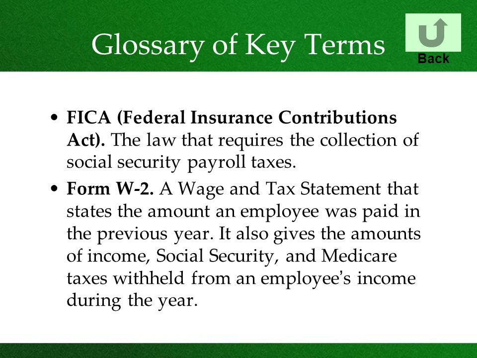 Glossary of Key Terms FICA (Federal Insurance Contributions Act). The law that requires the collection of social security payroll taxes. Form W-2. A W