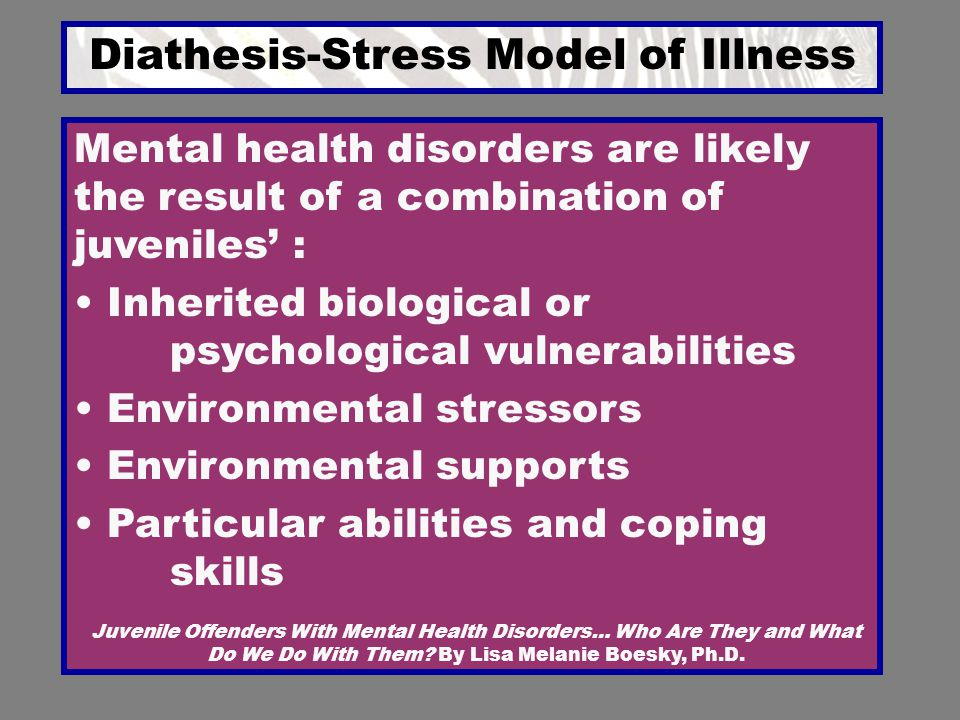 Diathesis-Stress Model of Illness Juvenile Offenders With Mental Health Disorders… Who Are They and What Do We Do With Them? By Lisa Melanie Boesky, P