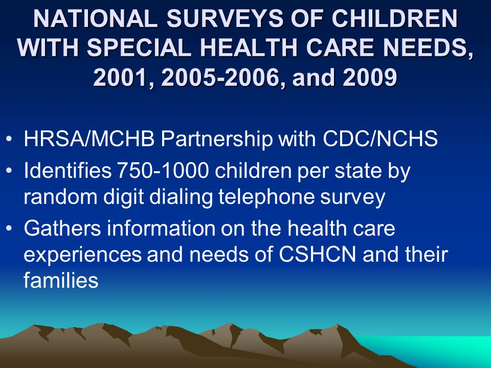 Health Insurance Coverage for CSHCN: 2001 and 2005-2006 Percentage of CSHCN, by Type of Health Insurance 2001 * 2006 2001