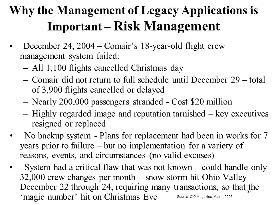 20 Why the Management of Legacy Applications is Important – Risk Management  December 24, 2004 – Comair's 18-year-old flight crew management system f