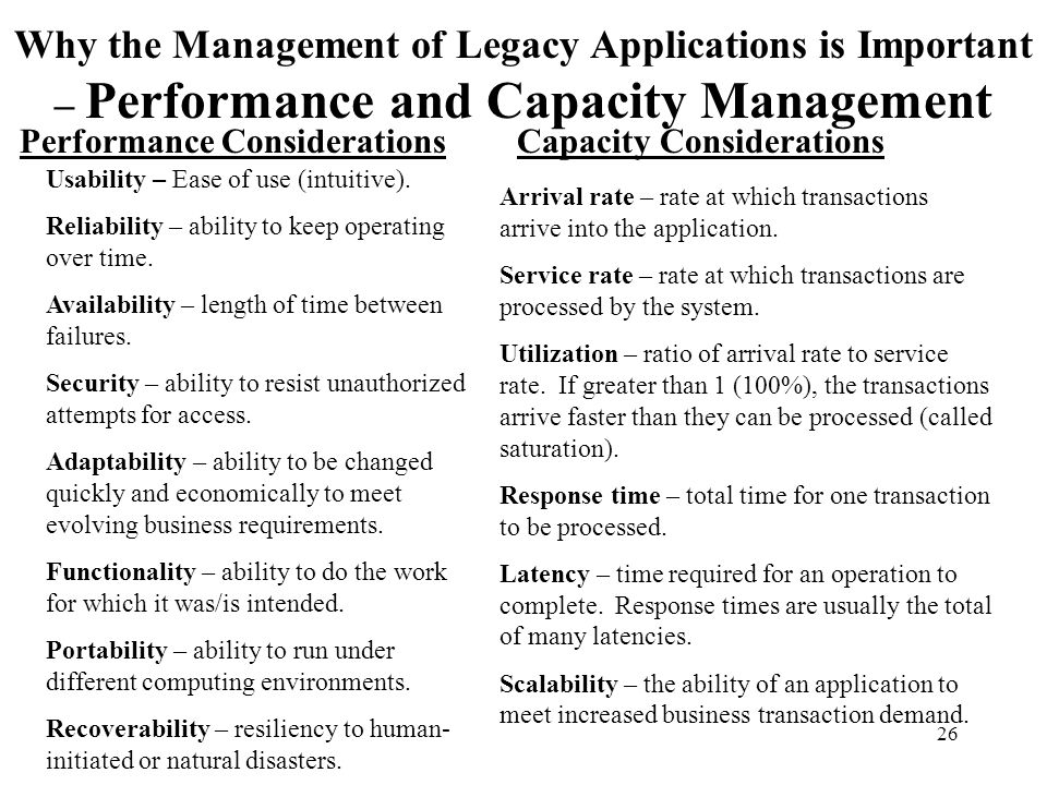 26 Why the Management of Legacy Applications is Important – Performance and Capacity Management Performance ConsiderationsCapacity Considerations Usab