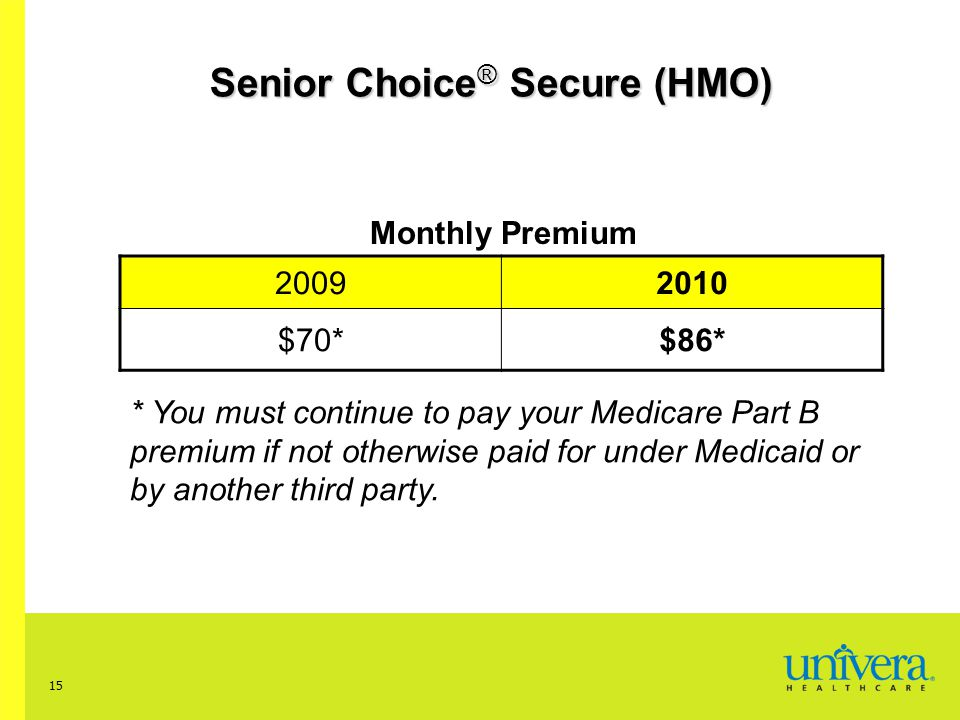 15 Senior Choice ® Secure (HMO) Monthly Premium 20092010 $70*$86* * You must continue to pay your Medicare Part B premium if not otherwise paid for under Medicaid or by another third party.