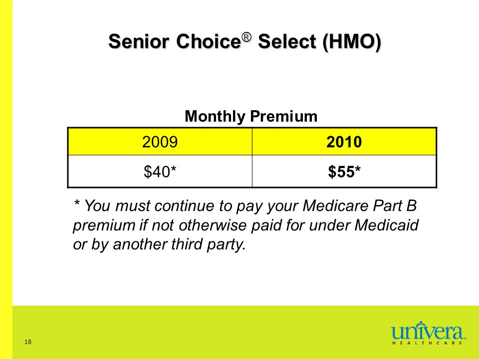 18 Senior Choice ® Select (HMO) Monthly Premium 20092010 $40*$55* * You must continue to pay your Medicare Part B premium if not otherwise paid for under Medicaid or by another third party.