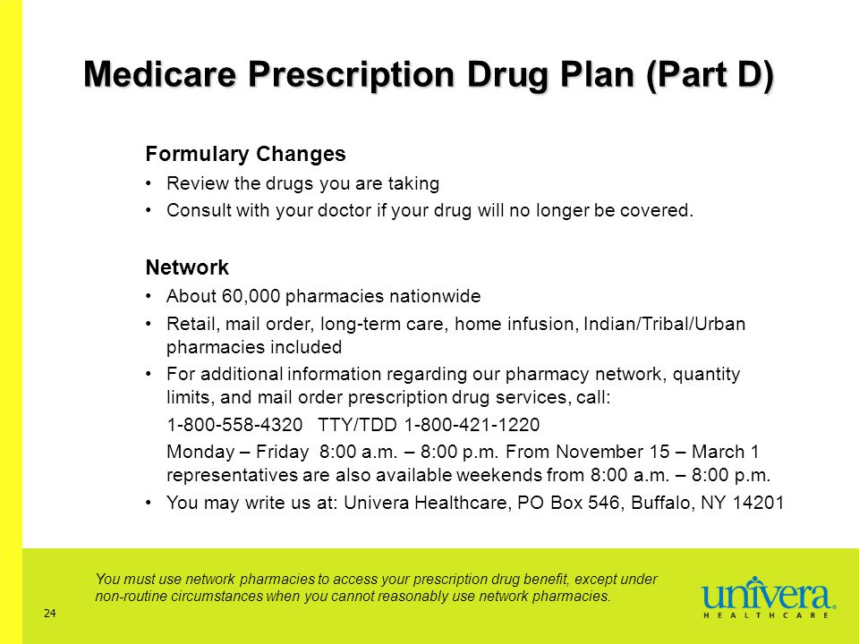 24 Medicare Prescription Drug Plan (Part D) Formulary Changes Review the drugs you are taking Consult with your doctor if your drug will no longer be covered.