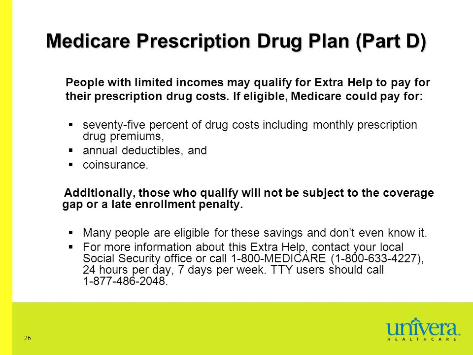 26 People with limited incomes may qualify for Extra Help to pay for their prescription drug costs.