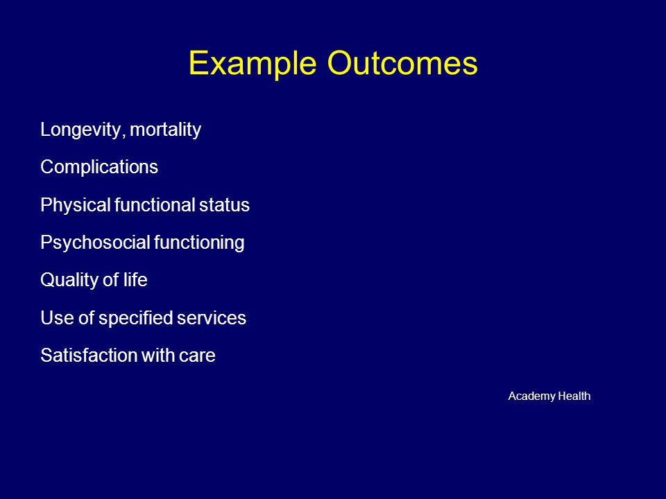 Example Outcomes Longevity, mortality Complications Physical functional status Psychosocial functioning Quality of life Use of specified services Satisfaction with care Academy Health