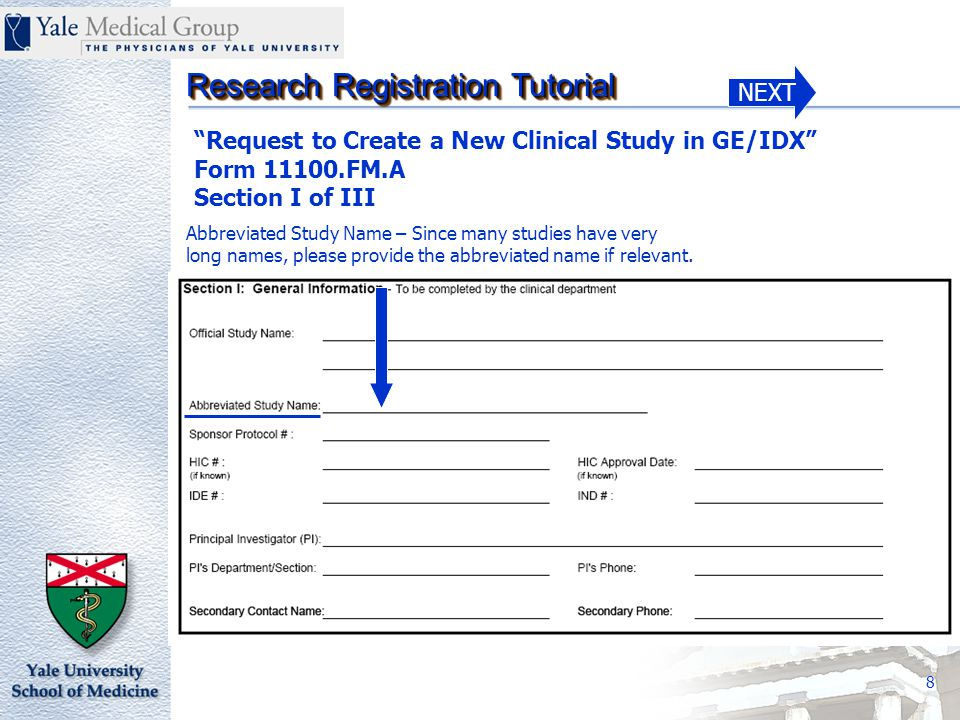 NEXT Research Registration Tutorial 29 Services are 100% Sponsor Paid nothing billable to the patient's medical insurance – Check this box where the sponsor is reimbursing all costs associated with the study.