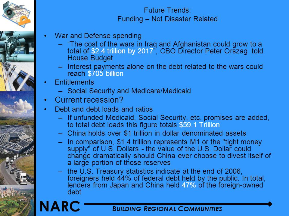 NARC B UILDING R EGIONAL C OMMUNITIES War and Defense spending – The cost of the wars in Iraq and Afghanistan could grow to a total of $2.4 trillion by 2017 , CBO Director Peter Orszag told House Budget –Interest payments alone on the debt related to the wars could reach $705 billion Entitlements –Social Security and Medicare/Medicaid Current recession.