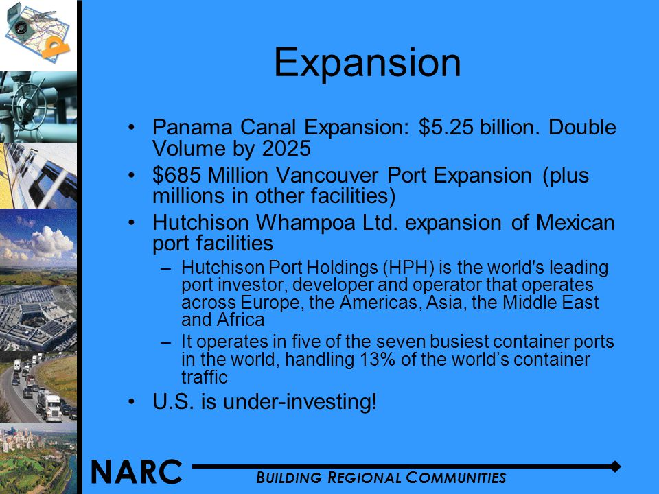 NARC B UILDING R EGIONAL C OMMUNITIES Expansion Panama Canal Expansion: $5.25 billion.
