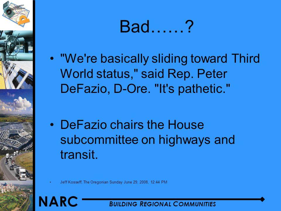 NARC B UILDING R EGIONAL C OMMUNITIES Bad…….