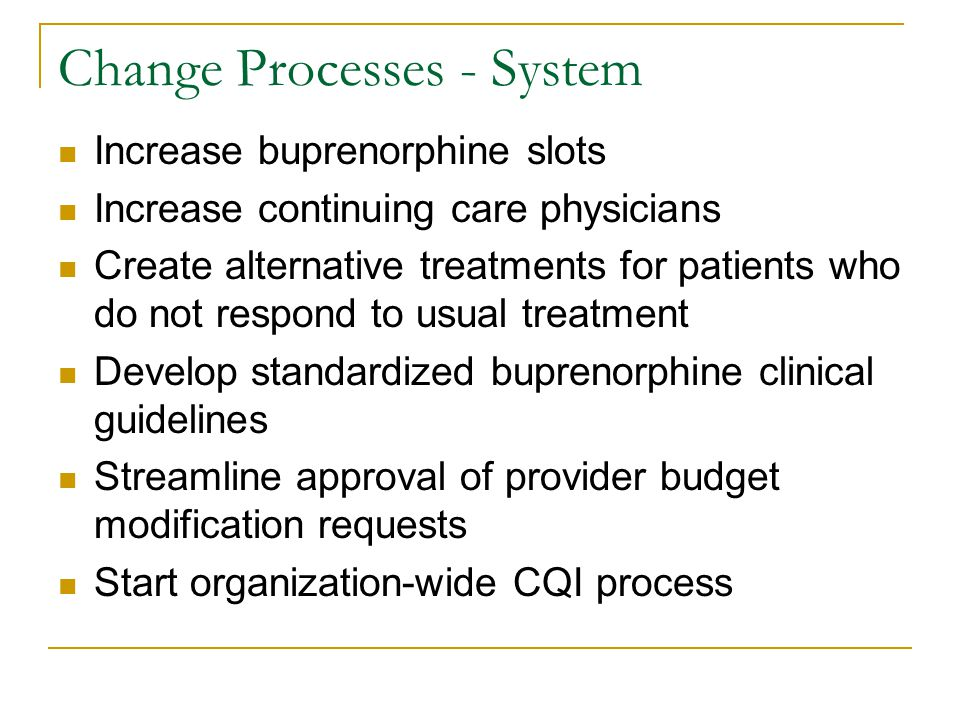 Change Processes - System Increase buprenorphine slots Increase continuing care physicians Create alternative treatments for patients who do not respond to usual treatment Develop standardized buprenorphine clinical guidelines Streamline approval of provider budget modification requests Start organization-wide CQI process
