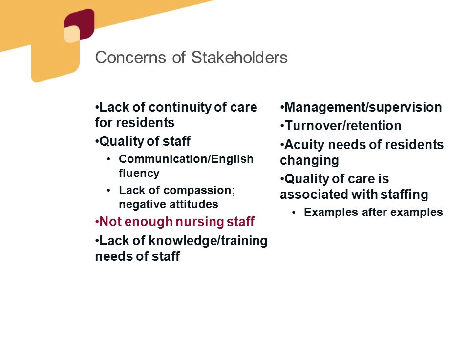Concerns of Stakeholders Lack of continuity of care for residents Quality of staff Communication/English fluency Lack of compassion; negative attitudes Not enough nursing staff Lack of knowledge/training needs of staff Management/supervision Turnover/retention Acuity needs of residents changing Quality of care is associated with staffing Examples after examples
