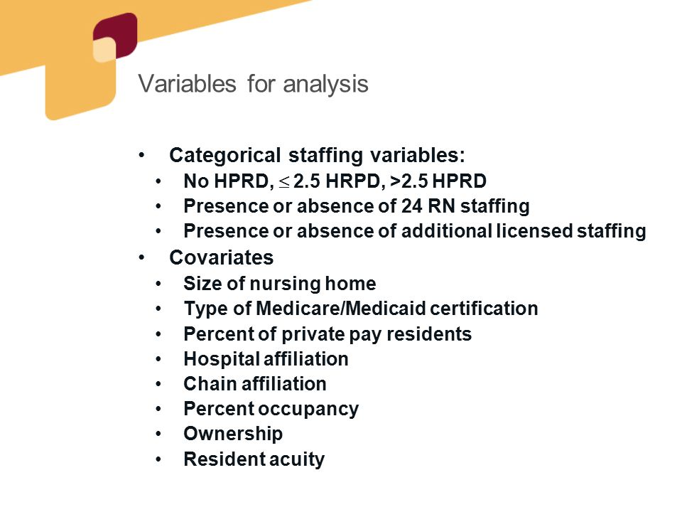 Variables for analysis Categorical staffing variables: No HPRD,  2.5 HRPD, >2.5 HPRD Presence or absence of 24 RN staffing Presence or absence of add