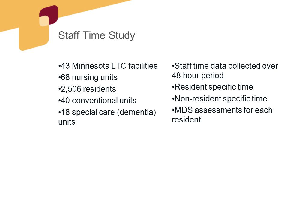 Staff Time Study 43 Minnesota LTC facilities 68 nursing units 2,506 residents 40 conventional units 18 special care (dementia) units Staff time data c
