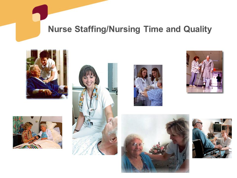 State staffing standards--Findings 40 States have staffing standards over and above the federal requirement 33 specify HPRD or ratio –Median 2.35 HPRD (highest 3.6 HPRD) 33 specify additional licensed nurse staffing requirements 7 require 24 hour RN staffing Actual Staffing (for each state) Licensed: 1.26 HPRD NA: 2.31 HPRD Total: 3.57 HPRD