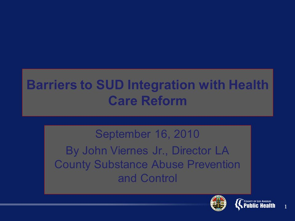 Barriers to SUD Integration with Health Care Reform September 16, 2010 By John Viernes Jr., Director LA County Substance Abuse Prevention and Control 1