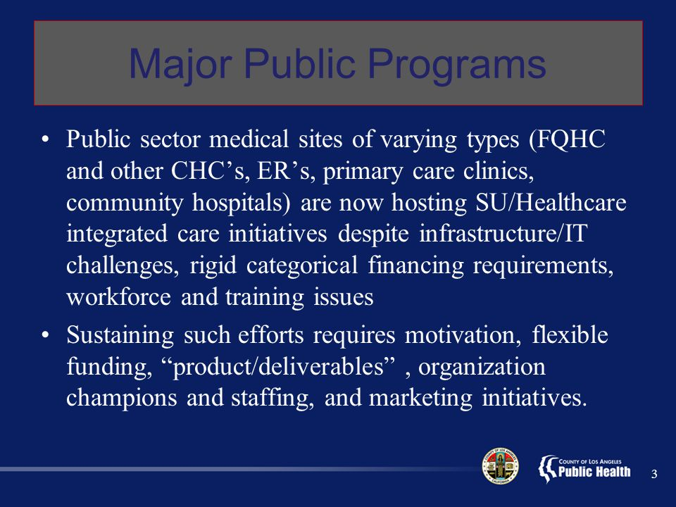 Major Public Programs Public sector medical sites of varying types (FQHC and other CHC's, ER's, primary care clinics, community hospitals) are now hosting SU/Healthcare integrated care initiatives despite infrastructure/IT challenges, rigid categorical financing requirements, workforce and training issues Sustaining such efforts requires motivation, flexible funding, product/deliverables , organization champions and staffing, and marketing initiatives.