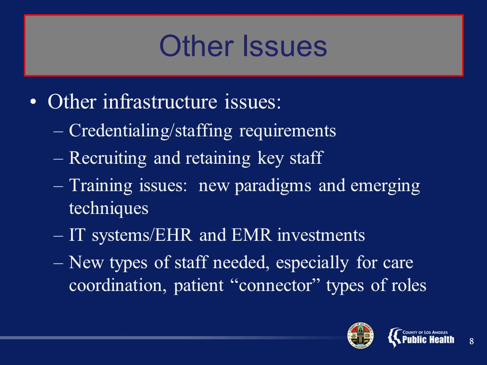 Other Issues Other infrastructure issues: –Credentialing/staffing requirements –Recruiting and retaining key staff –Training issues: new paradigms and