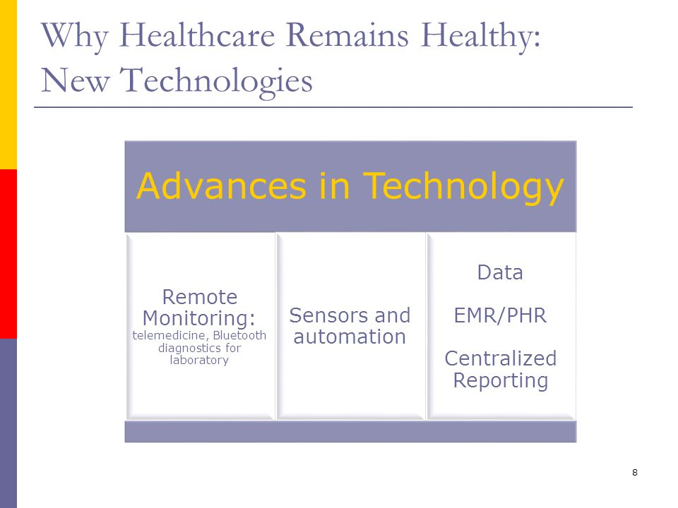8 Why Healthcare Remains Healthy: New Technologies Advances in Technology Remote Monitoring: telemedicine, Bluetooth diagnostics for laboratory Sensor