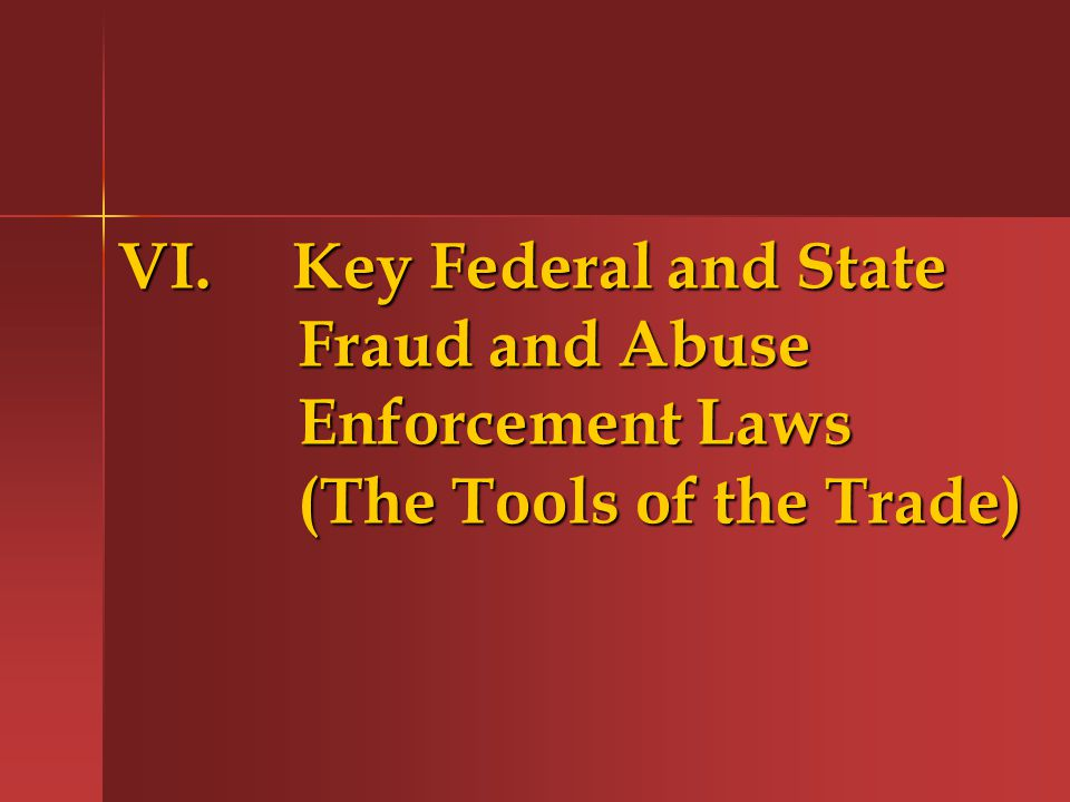 VI. Key Federal and State Fraud and Abuse Enforcement Laws (The Tools of the Trade)