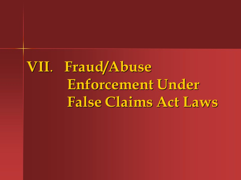 VII. Fraud/Abuse Enforcement Under False Claims Act Laws