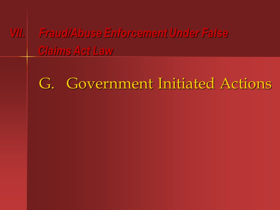G. Government Initiated Actions VII.